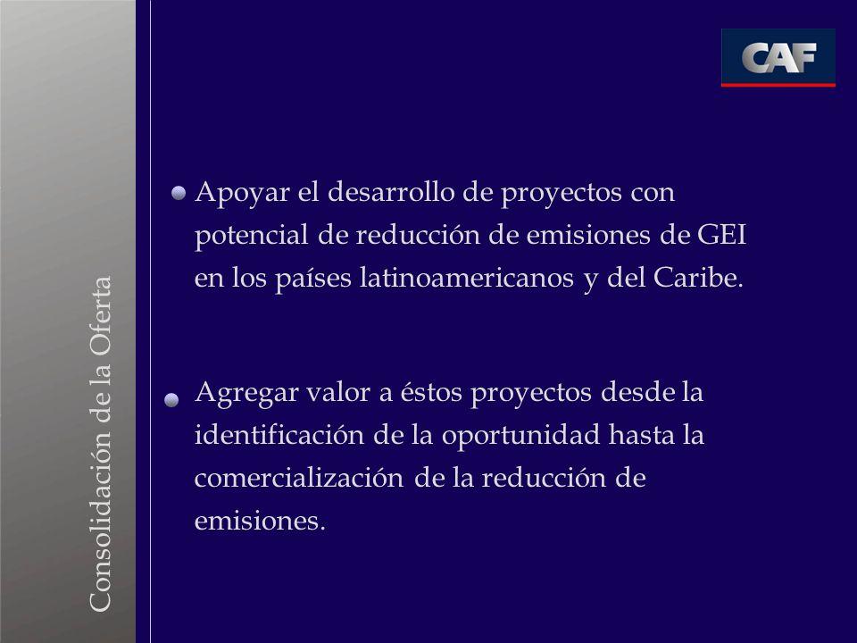 Apoyar el desarrollo de proyectos con potencial de reducción de emisiones de GEI en los países latinoamericanos y del Caribe. Agregar valor a éstos pr