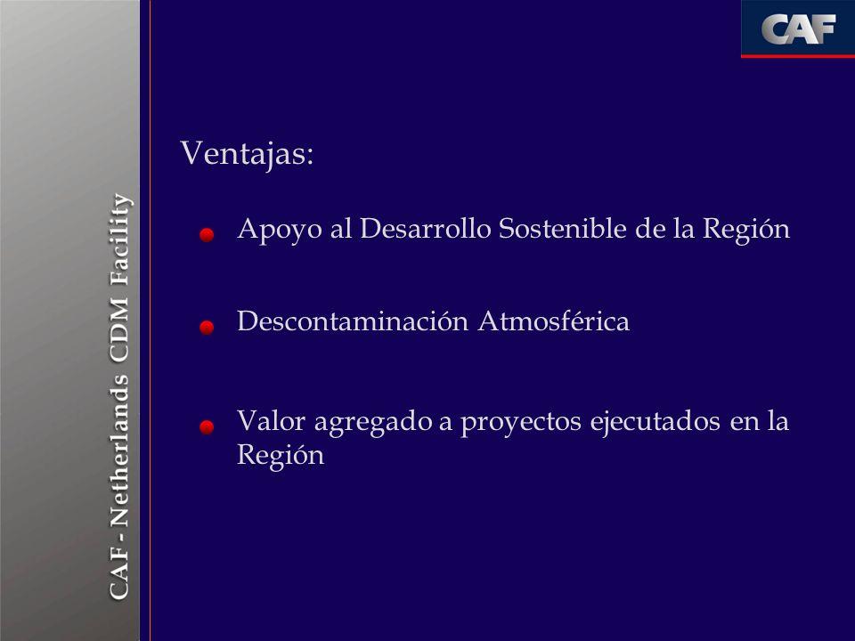 Ventajas: Apoyo al Desarrollo Sostenible de la Región Descontaminación Atmosférica Valor agregado a proyectos ejecutados en la Región