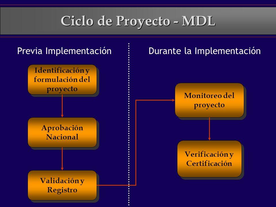 Ciclo de Proyecto - MDL Identificación y formulación del proyecto Aprobación Nacional Validación y Registro Verificación y Certificación Monitoreo del