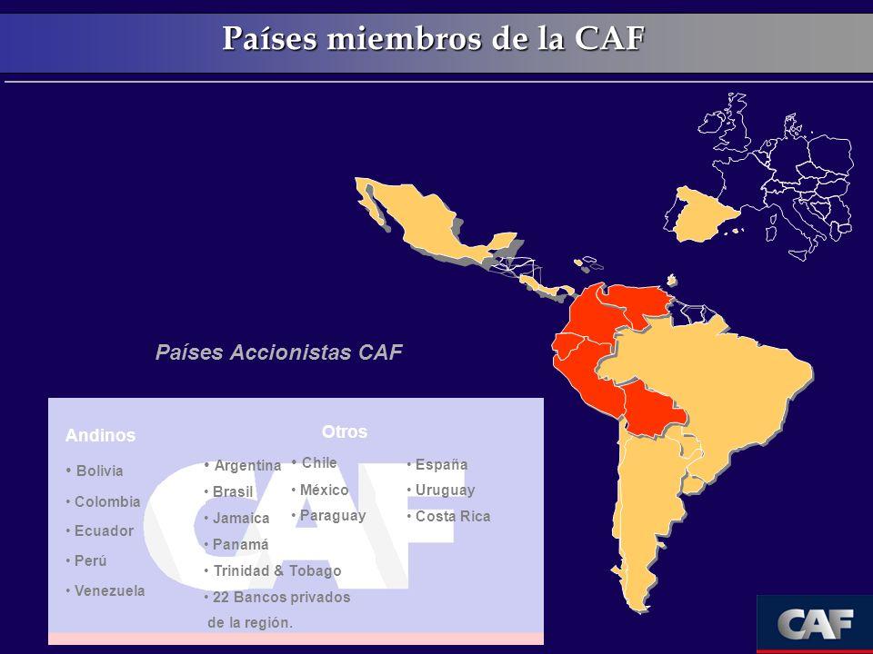 Países miembros de la CAF Países Accionistas CAF Otros Argentina Brasil Jamaica Panamá Trinidad & Tobago 22 Bancos privados de la región. Chile México