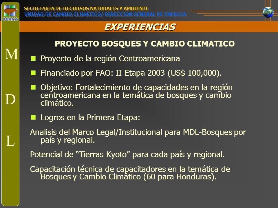 EXPERIENCIAS PROYECTO BOSQUES Y CAMBIO CLIMATICO Proyecto de la región Centroamericana Financiado por FAO: II Etapa 2003 (US$ 100,000). Objetivo: Fort