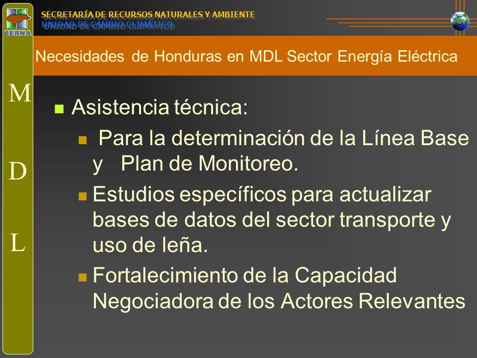 Necesidades de Honduras en MDL Sector Energía Eléctrica SECRETARÍA DE RECURSOS NATURALES Y AMBIENTE UNIDAD DE CAMBIO CLIMÁTICO M D L Asistencia técnic