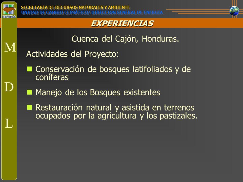 EXPERIENCIAS Cuenca del Cajón, Honduras. Actividades del Proyecto: Conservación de bosques latifoliados y de coníferas Manejo de los Bosques existente