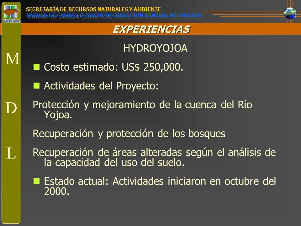 EXPERIENCIAS Proyectos en Propuesta Cangrejal: Hidroeléctrio Babilonia: Hidroeléctrico Tres Valles: Biomasa (caña de azúcar) Honduras 2000: Viento Programa de Eficiencia energética en el sector comercial e industrial (PESIC) Generación de energía por manejo de desechos sólidos: Eficiencia energética SECRETARÍA DE RECURSOS NATURALES Y AMBIENTE UNIDAD DE CAMBIO CLIMÁTICO/ DIRECCION GENERAL DE ENERGIA M D L