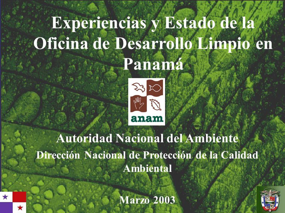 Experiencias y Estado de la Oficina de Desarrollo Limpio en Panamá Autoridad Nacional del Ambiente Dirección Nacional de Protección de la Calidad Ambi