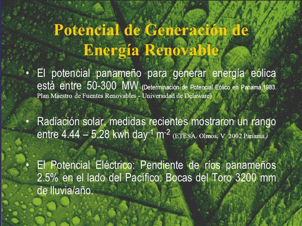 Potencial de Generación de Energía Renovable El potencial panameño para generar energía eólica está entre 50-300 MW ( Determinación de Potencial Eólic