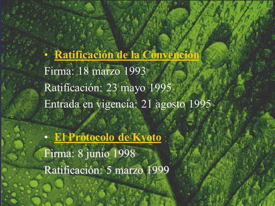 Ratificación de la Convención Firma: 18 marzo 1993 Ratificación: 23 mayo 1995 Entrada en vigencia: 21 agosto 1995 El Protocolo de Kyoto Firma: 8 junio