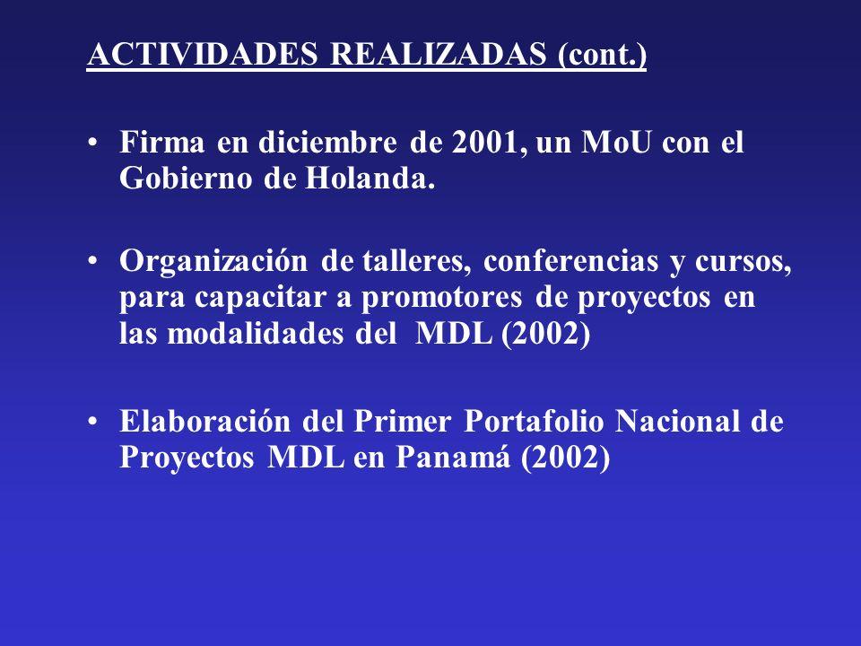 ACTIVIDADES REALIZADAS (cont.) Firma en diciembre de 2001, un MoU con el Gobierno de Holanda. Organización de talleres, conferencias y cursos, para ca