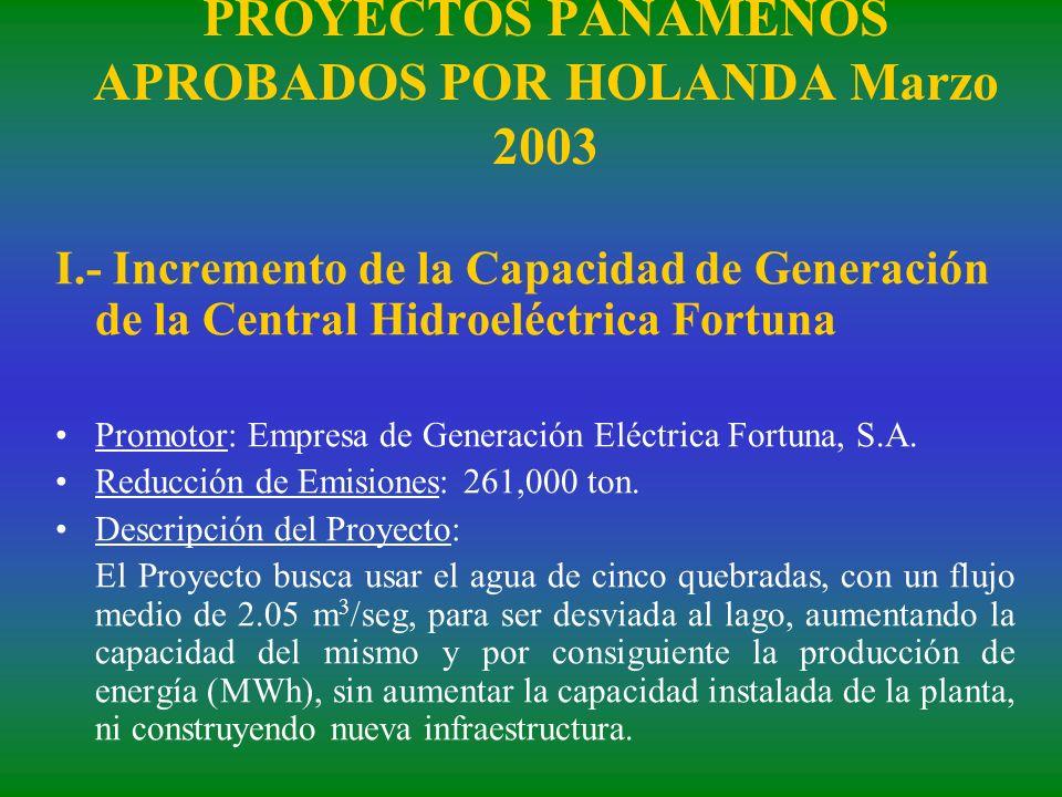 PROYECTOS PANAMEÑOS APROBADOS POR HOLANDA Marzo 2003 I.- Incremento de la Capacidad de Generación de la Central Hidroeléctrica Fortuna Promotor: Empre
