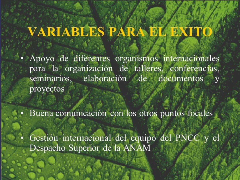 VARIABLES PARA EL EXITO Apoyo de diferentes organismos internacionales para la organización de talleres, conferencias, seminarios, elaboración de docu