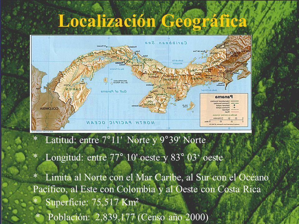 Localización Geográfica * Latitud: entre 7°11' Norte y 9°39' Norte * Longitud: entre 77° 10' oeste y 83° 03 oeste * Limita al Norte con el Mar Caribe,