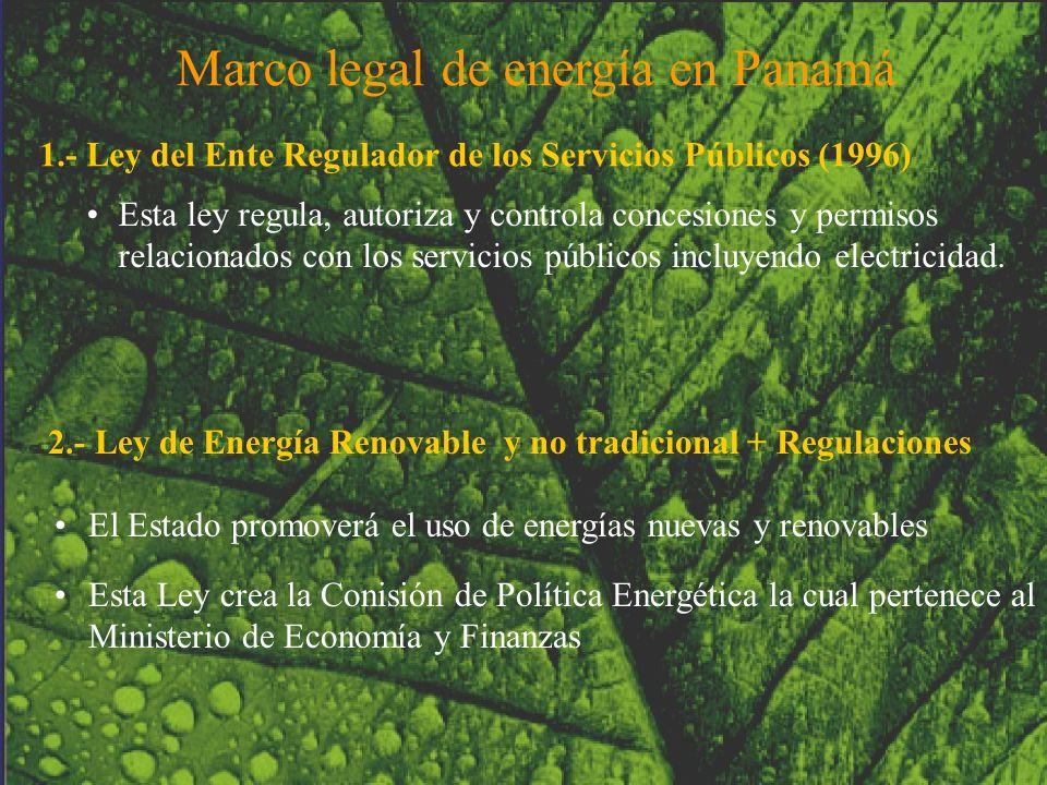 Esta ley regula, autoriza y controla concesiones y permisos relacionados con los servicios públicos incluyendo electricidad. 1.- Ley del Ente Regulado
