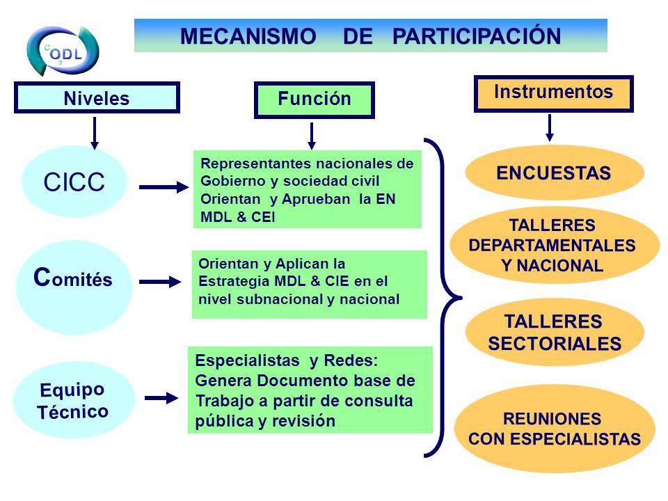 CICC Equipo Técnico ENCUESTAS C omités TALLERES SECTORIALES Especialistas y Redes: Genera Documento base de Trabajo a partir de consulta pública y revisión TALLERES DEPARTAMENTALES Y NACIONAL Representantes nacionales de Gobierno y sociedad civil Orientan y Aprueban la EN MDL & CEI Orientan y Aplican la Estrategia MDL & CIE en el nivel subnacional y nacional NivelesFunción Instrumentos REUNIONES CON ESPECIALISTAS MECANISMO DE PARTICIPACIÓN