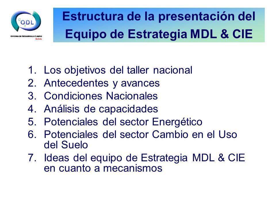 Estructura de la presentación del Equipo de Estrategia MDL & CIE 1.Los objetivos del taller nacional 2.Antecedentes y avances 3.Condiciones Nacionales 4.Análisis de capacidades 5.Potenciales del sector Energético 6.Potenciales del sector Cambio en el Uso del Suelo 7.Ideas del equipo de Estrategia MDL & CIE en cuanto a mecanismos