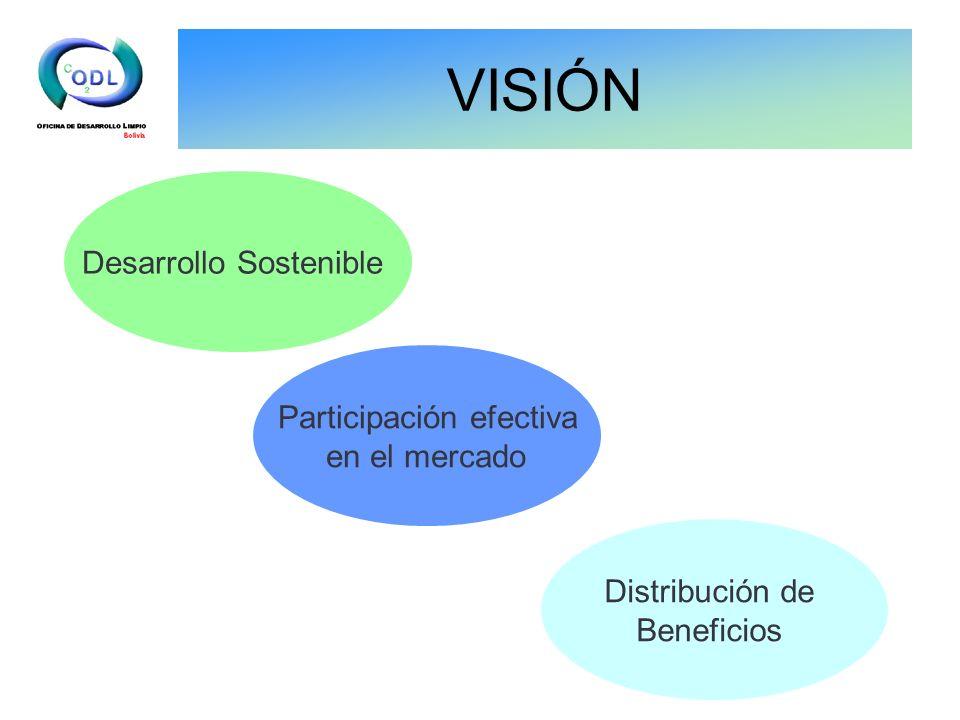 VISIÓN Desarrollo Sostenible Participación efectiva en el mercado Distribución de Beneficios