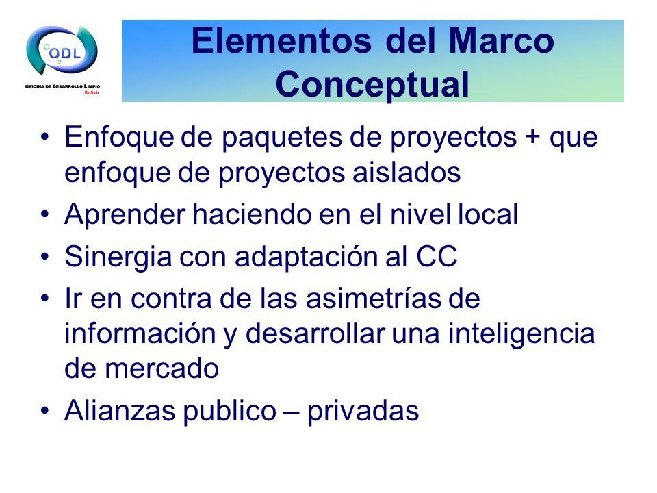 Elementos del Marco Conceptual Enfoque de paquetes de proyectos + que enfoque de proyectos aislados Aprender haciendo en el nivel local Sinergia con a