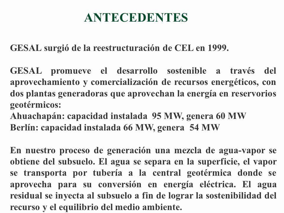 ANTECEDENTES GESAL surgió de la reestructuración de CEL en 1999.