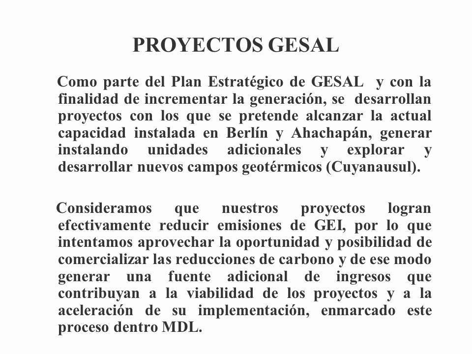 PROYECTOS GESAL Como parte del Plan Estratégico de GESAL y con la finalidad de incrementar la generación, se desarrollan proyectos con los que se pretende alcanzar la actual capacidad instalada en Berlín y Ahachapán, generar instalando unidades adicionales y explorar y desarrollar nuevos campos geotérmicos (Cuyanausul).