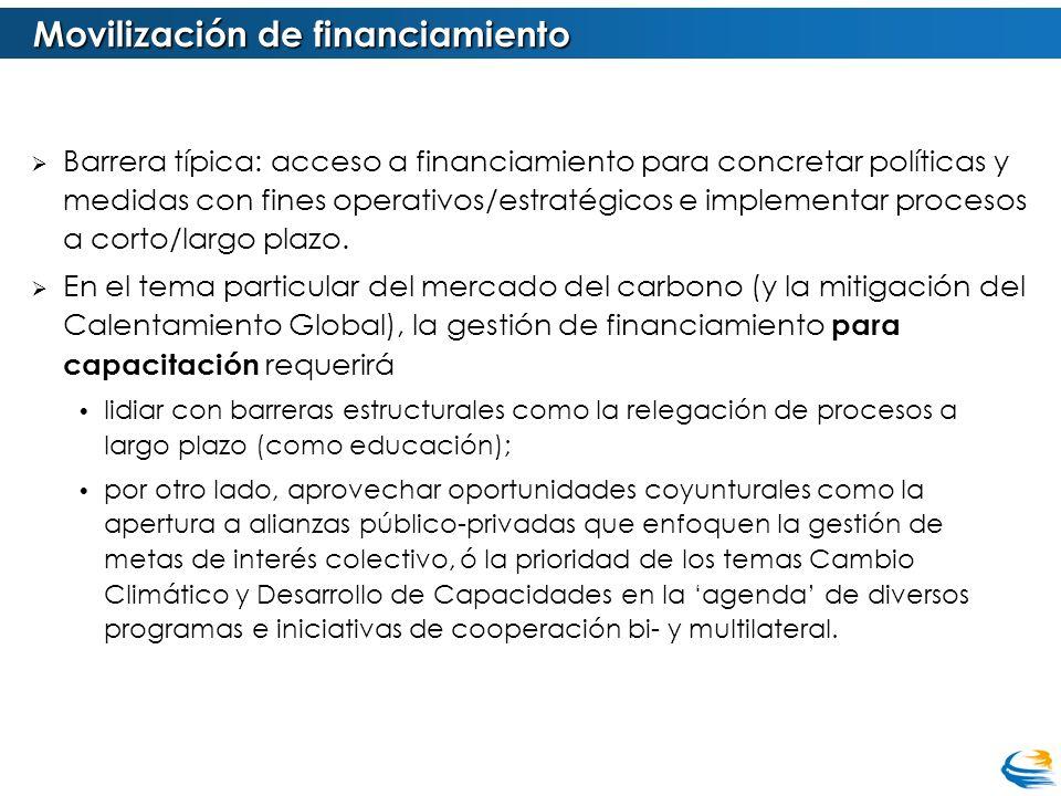 Barrera típica: acceso a financiamiento para concretar políticas y medidas con fines operativos/estratégicos e implementar procesos a corto/largo plaz