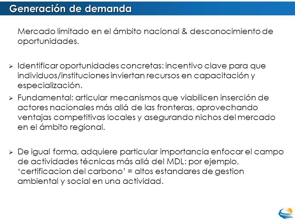 Generación de demanda Mercado limitado en el ámbito nacional & desconocimiento de oportunidades. Identificar oportunidades concretas: incentivo clave