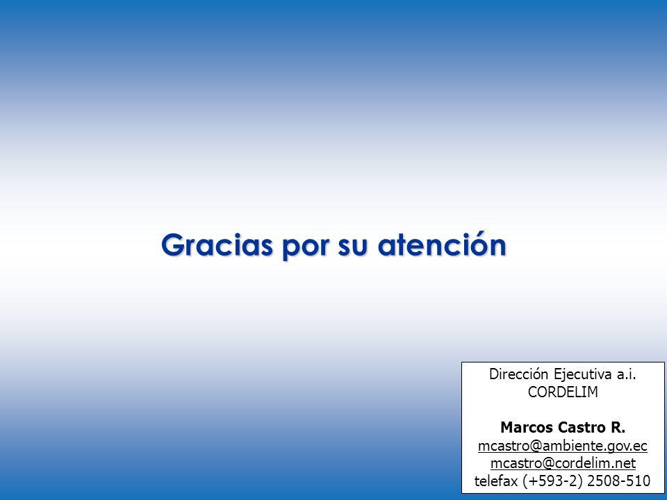 Gracias por su atención Dirección Ejecutiva a.i. CORDELIM Marcos Castro R. mcastro@ambiente.gov.ec mcastro@cordelim.net telefax (+593-2) 2508-510