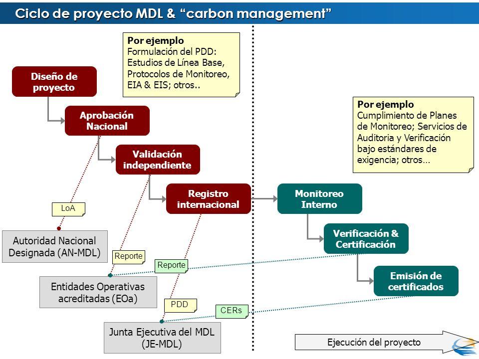 Ejecución del proyecto LoA Reporte PDD Emisión de certificados Verificación & Certificación Monitoreo Interno Registro internacional Validación indepe