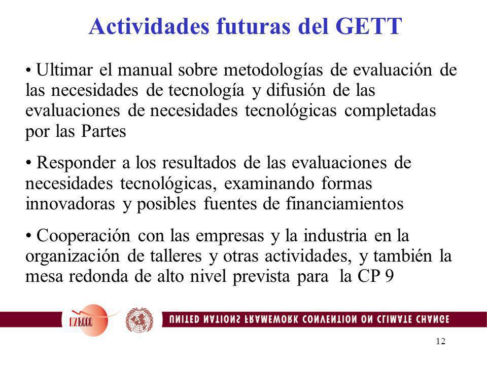 11 Actividades futuras del GETT Completar el programa de trabajo para el bienio 2002- 2003: que refleje los componentes del marco para la TT Dar seguimiento a las actividades sobre los entornos favorables a la transferencia de tecnología (Taller en Ghent y documento FCCC/TP/2003/2) Documento técnico sobre el fomento de la capacidad para el desarrollo y la trasferencia de tecnología que se presentaría al OSACT 19 para su consideración Actualizar y mantener el sistema de información tecnológica TT:CLEAR