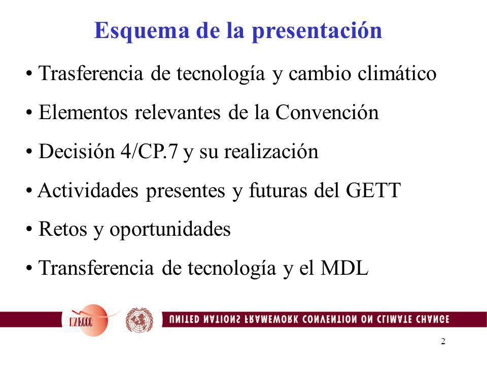 2 Trasferencia de tecnología y cambio climático Elementos relevantes de la Convención Decisión 4/CP.7 y su realización Actividades presentes y futuras del GETT Retos y oportunidades Transferencia de tecnología y el MDL Esquema de la presentación
