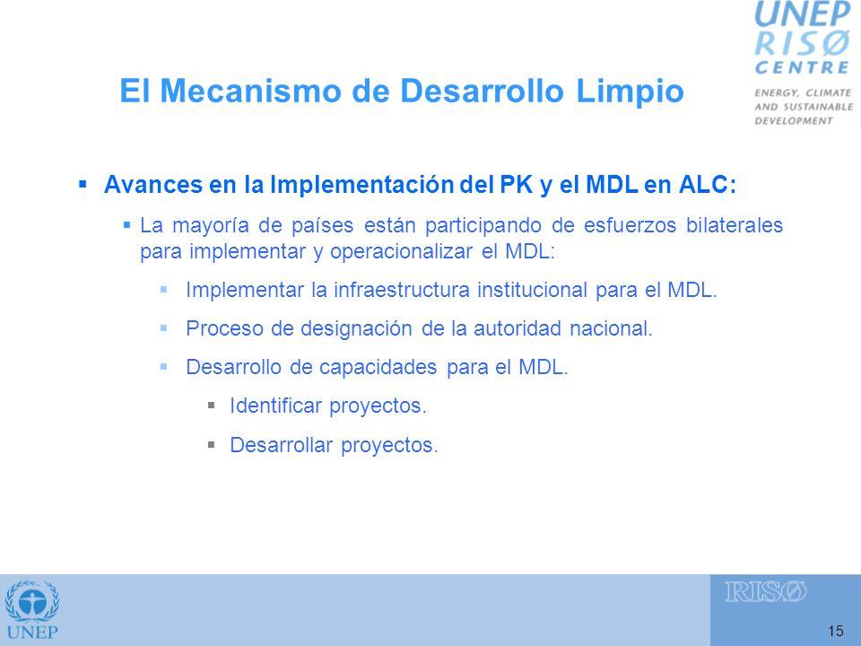 15 Avances en la Implementación del PK y el MDL en ALC: La mayoría de países están participando de esfuerzos bilaterales para implementar y operacionalizar el MDL: Implementar la infraestructura institucional para el MDL.