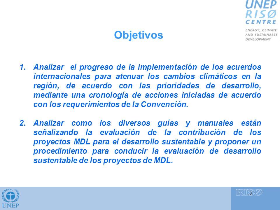 Objetivos 2 1.Analizar el progreso de la implementación de los acuerdos internacionales para atenuar los cambios climáticos en la región, de acuerdo con las prioridades de desarrollo, mediante una cronología de acciones iniciadas de acuerdo con los requerimientos de la Convención.