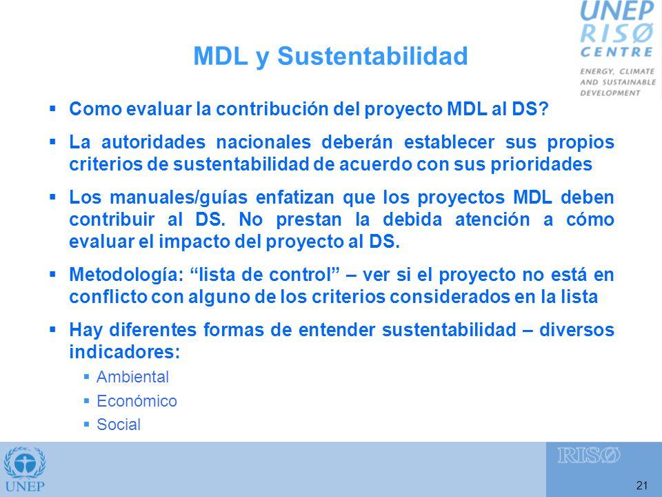 21 Como evaluar la contribución del proyecto MDL al DS.