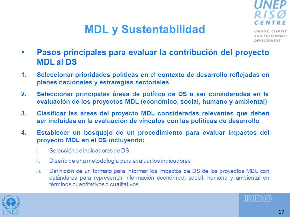 23 Pasos principales para evaluar la contribución del proyecto MDL al DS 1.Seleccionar prioridades políticas en el contexto de desarrollo reflejadas en planes nacionales y estrategias sectoriales 2.Seleccionar principales áreas de política de DS a ser consideradas en la evaluación de los proyectos MDL (económico, social, humano y ambiental) 3.Clasificar las áreas del proyecto MDL consideradas relevantes que deben ser incluidas en la evaluación de vínculos con las políticas de desarrollo 4.Establecer un bosquejo de un procedimiento para evaluar impactos del proyecto MDL en el DS incluyendo: i.Selección de indicadores de DS ii.Diseño de una metodología para evaluar los indicadores iii.Definición de un formato para informar los impactos de DS de los proyectos MDL con estándares para representar información económica, social, humana y ambiental en términos cuantitativos o cualitativos MDL y Sustentabilidad