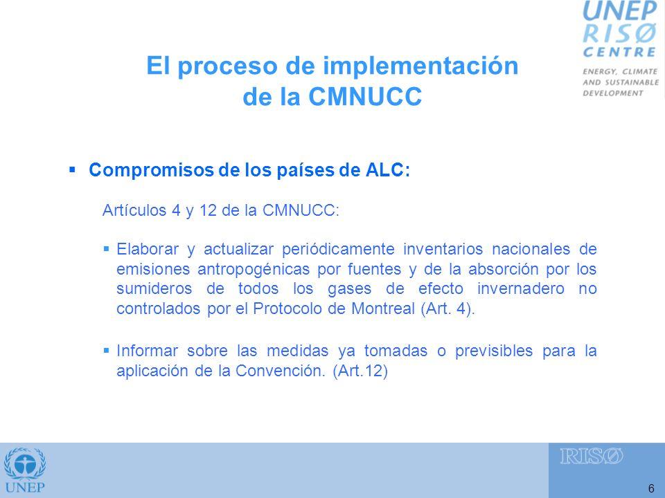 El proceso de implementación de la CMNUCC 6 Compromisos de los países de ALC: Artículos 4 y 12 de la CMNUCC: Elaborar y actualizar periódicamente inventarios nacionales de emisiones antropogénicas por fuentes y de la absorción por los sumideros de todos los gases de efecto invernadero no controlados por el Protocolo de Montreal (Art.