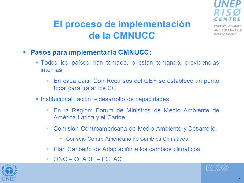 7 Pasos para implementar la CMNUCC: Todos los países han tomado, o están tomando, providencias internas.
