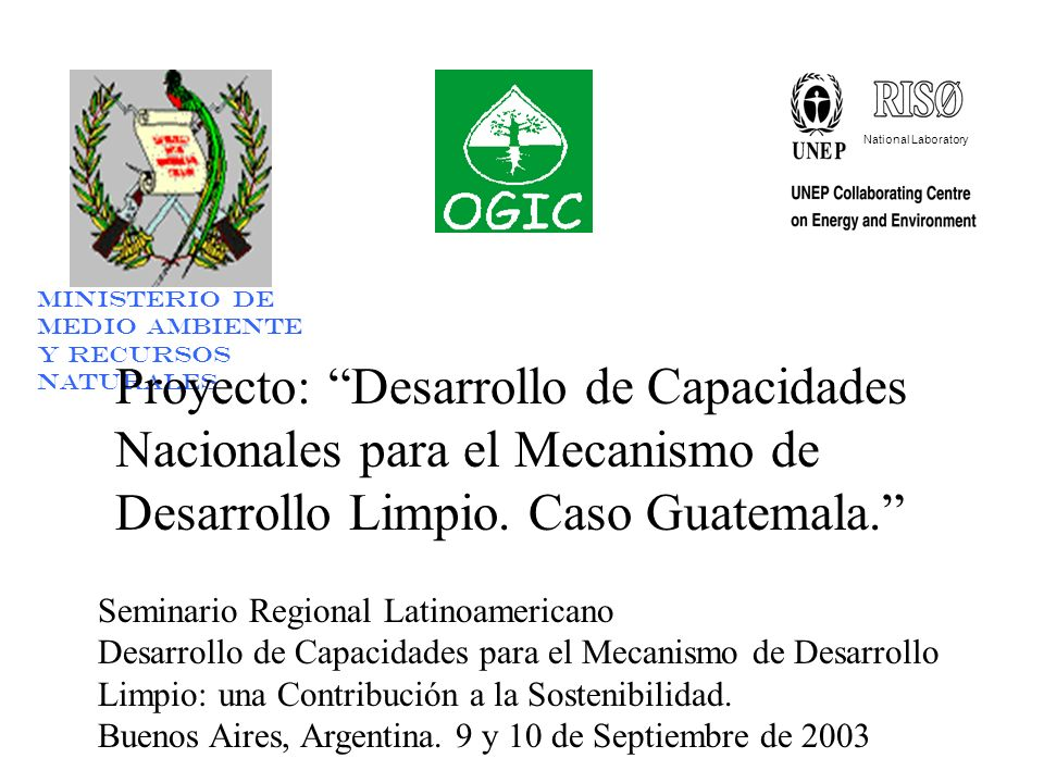 National Laboratory Ministerio de Medio Ambiente y Recursos Naturales Proyecto: Desarrollo de Capacidades Nacionales para el Mecanismo de Desarrollo Limpio.