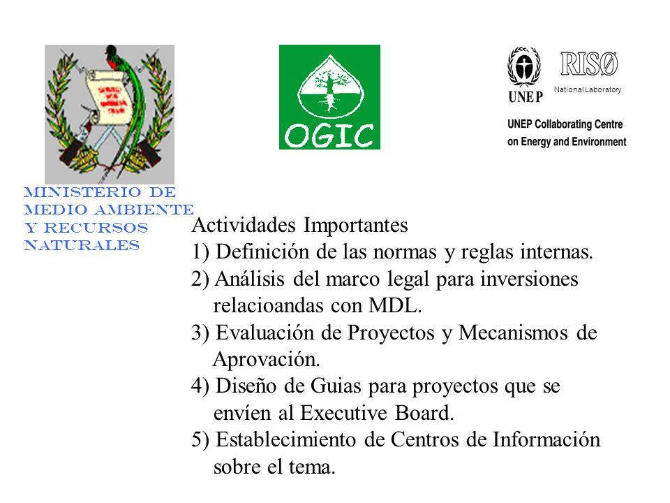National Laboratory Ministerio de Medio Ambiente y Recursos Naturales Actividades Importantes 1) Definición de las normas y reglas internas.