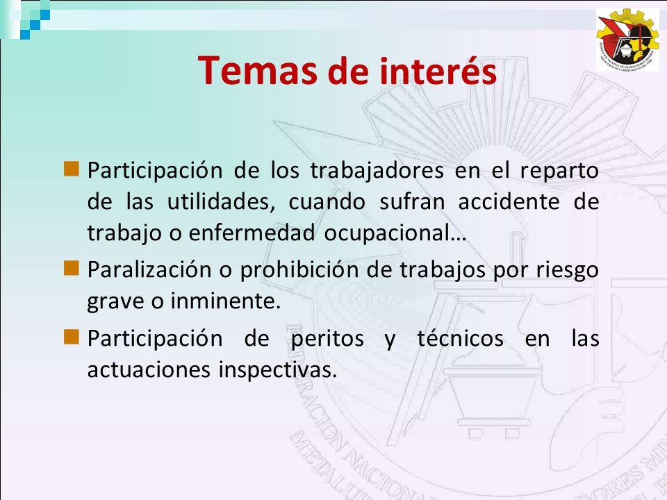 Temas de interés Participación de los trabajadores en el reparto de las utilidades, cuando sufran accidente de trabajo o enfermedad ocupacional… Paral