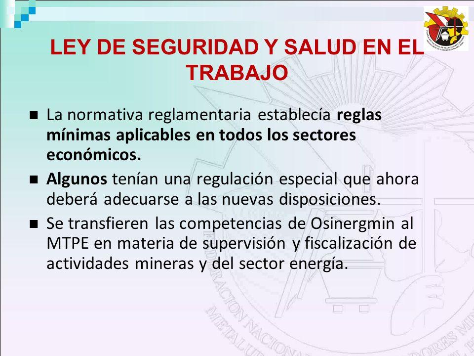 LEY DE SEGURIDAD Y SALUD EN EL TRABAJO La normativa reglamentaria establecía reglas mínimas aplicables en todos los sectores económicos. Algunos tenía