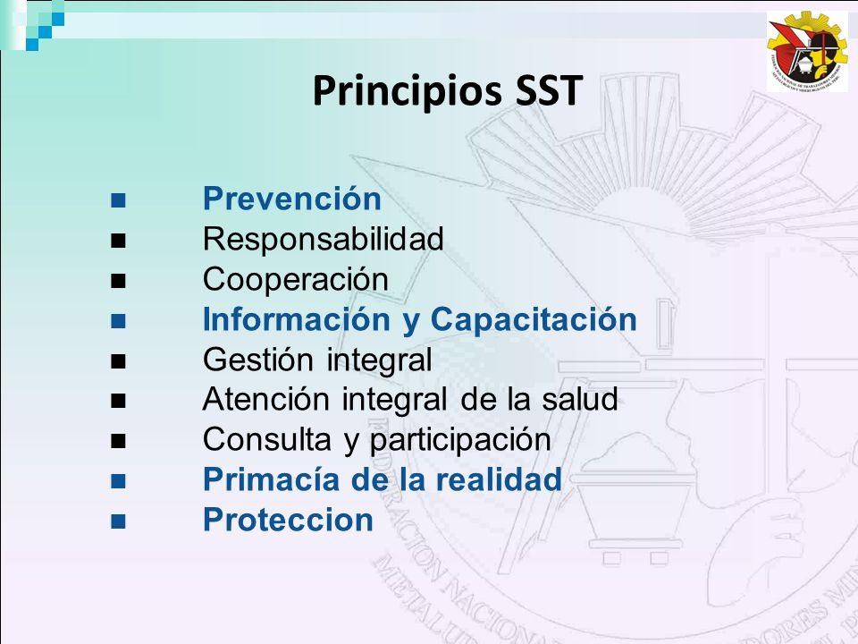 Principios SST Prevención Responsabilidad Cooperación Información y Capacitación Gestión integral Atención integral de la salud Consulta y participaci