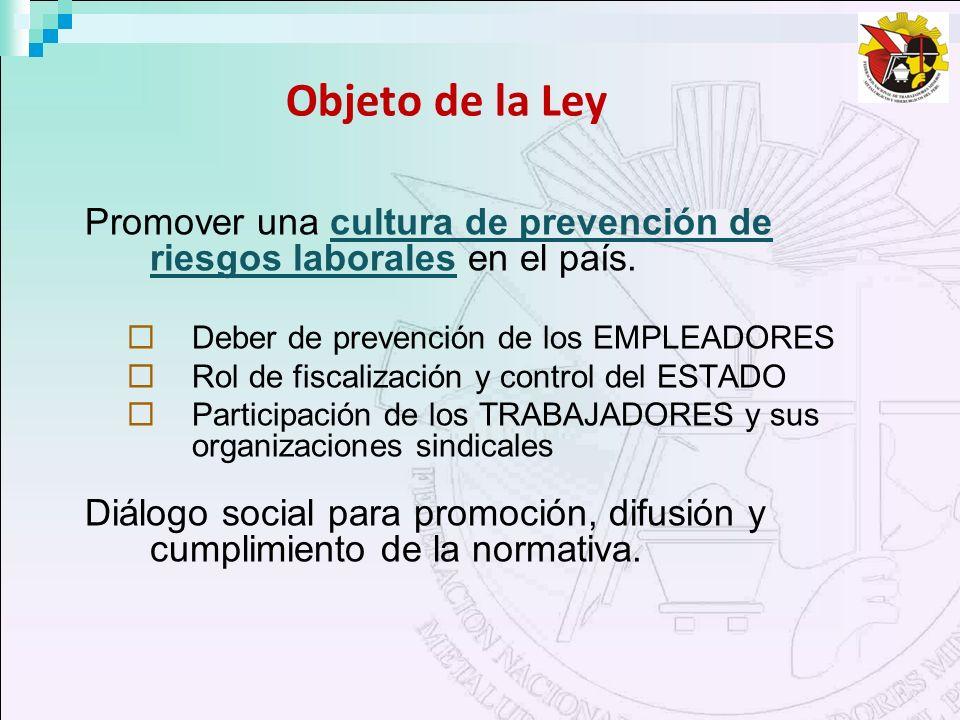 Objeto de la Ley Promover una cultura de prevención de riesgos laborales en el país. Deber de prevención de los EMPLEADORES Rol de fiscalización y con