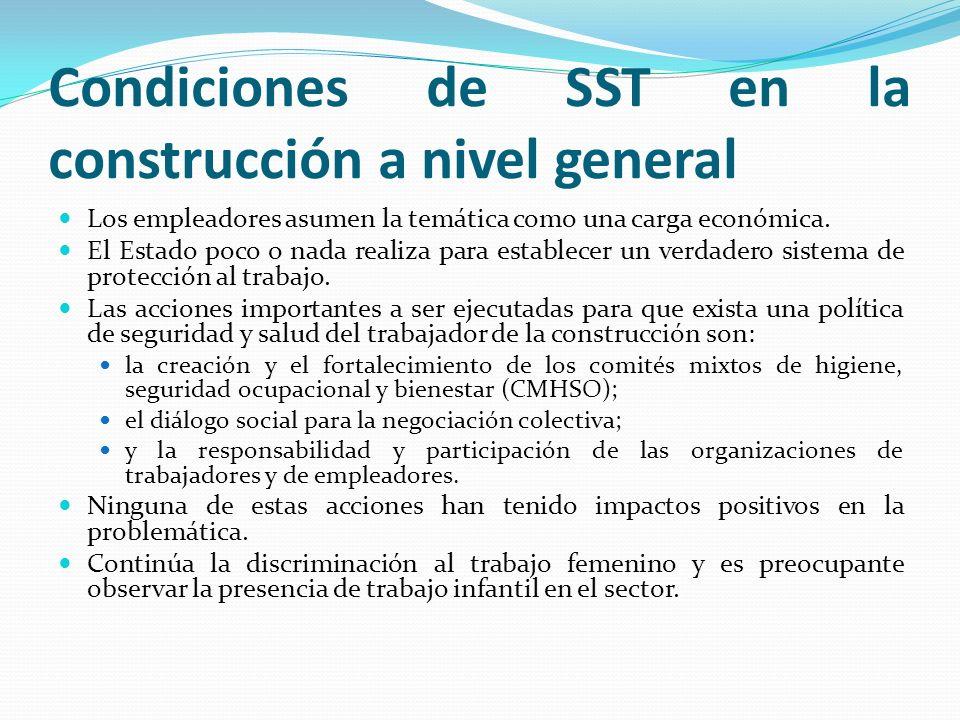 Condiciones de seguridad y salud en las obras No existen reglamentos específicos para el sector.