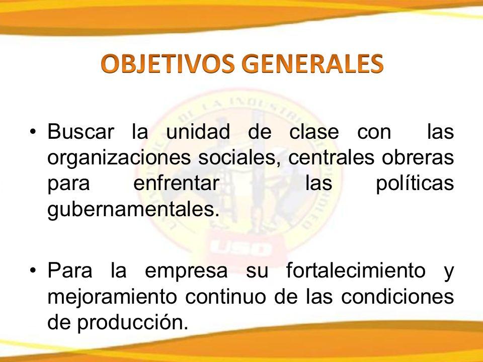 Buscar la unidad de clase con las organizaciones sociales, centrales obreras para enfrentar las políticas gubernamentales.