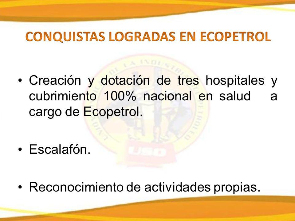 Creación y dotación de tres hospitales y cubrimiento 100% nacional en salud a cargo de Ecopetrol.