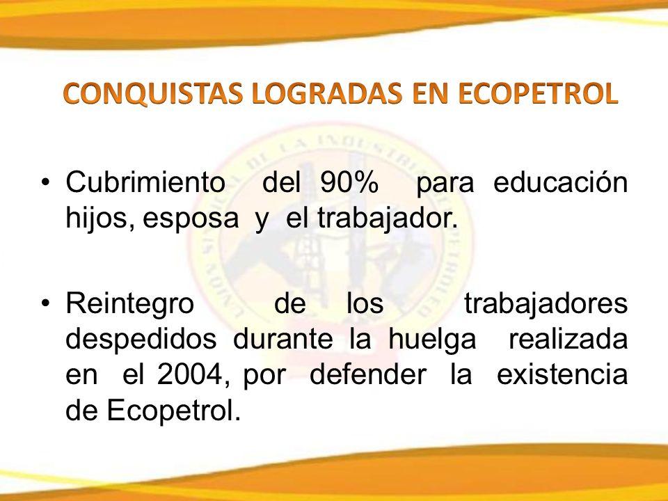 Cubrimiento del 90% para educación hijos, esposa y el trabajador.