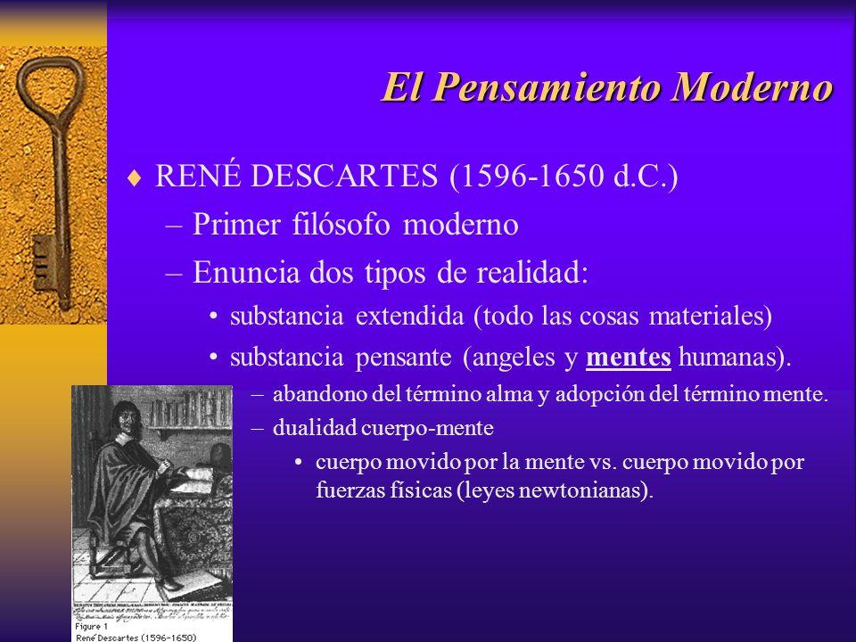 El Pensamiento Moderno RENÉ DESCARTES (1596-1650 d.C.) –Primer filósofo moderno –Enuncia dos tipos de realidad: substancia extendida (todo las cosas m