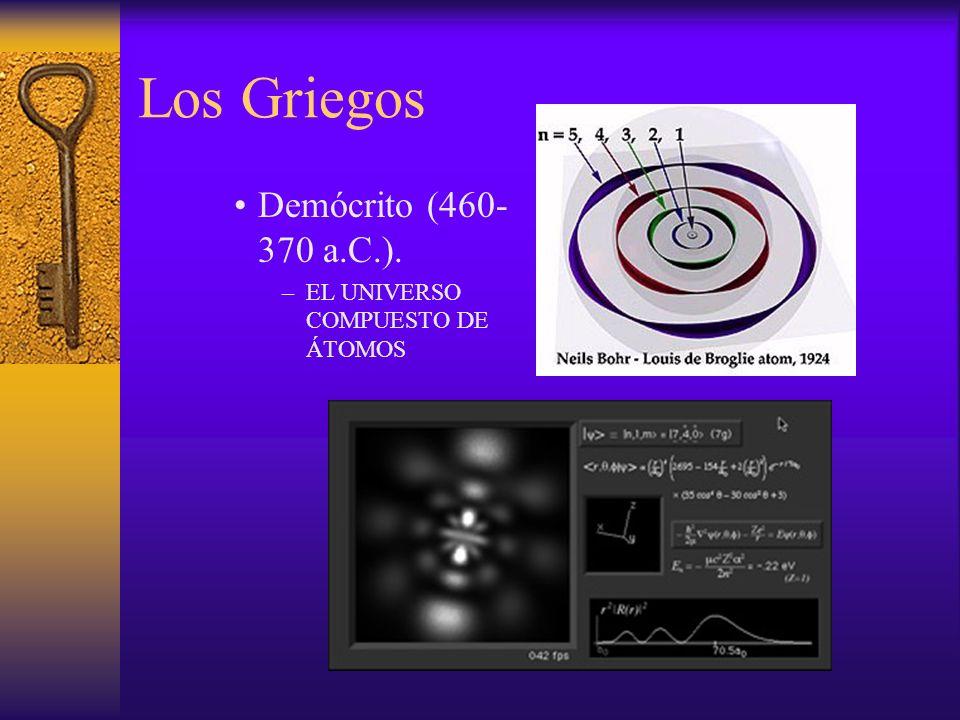 Los Griegos Demócrito (460- 370 a.C.). –EL UNIVERSO COMPUESTO DE ÁTOMOS