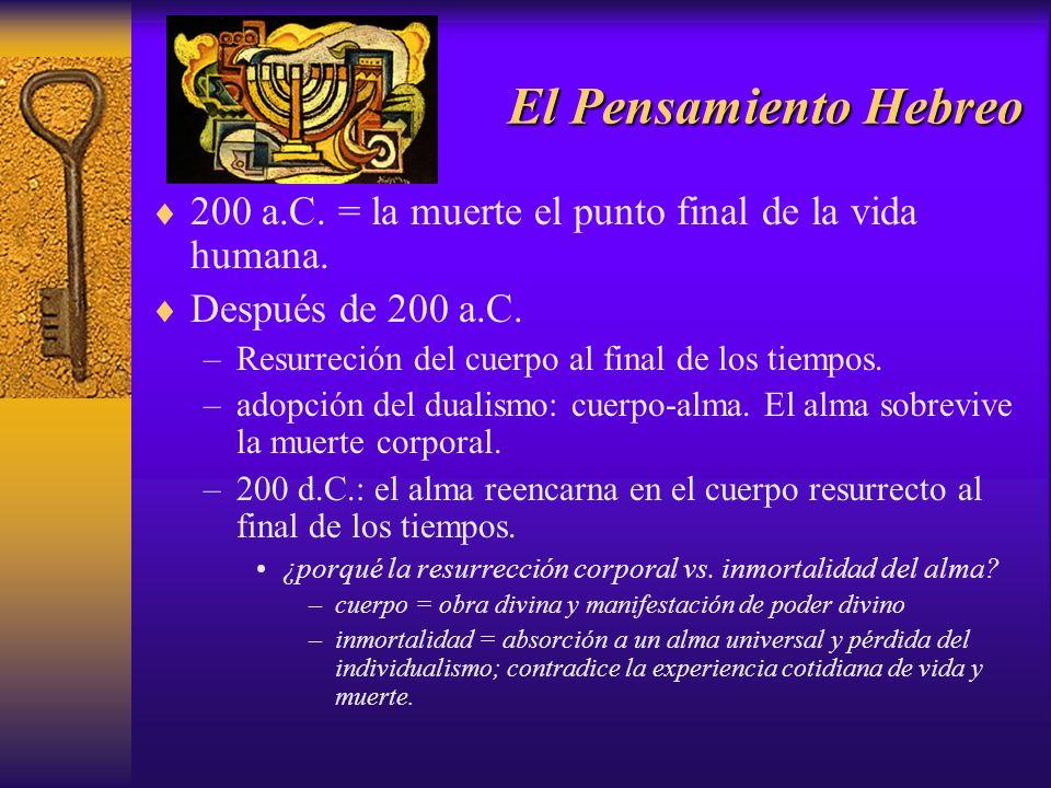 El Pensamiento Hebreo 200 a.C. = la muerte el punto final de la vida humana. Después de 200 a.C. –Resurreción del cuerpo al final de los tiempos. –ado