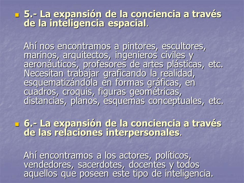 5.- La expansión de la conciencia a través de la inteligencia espacial.
