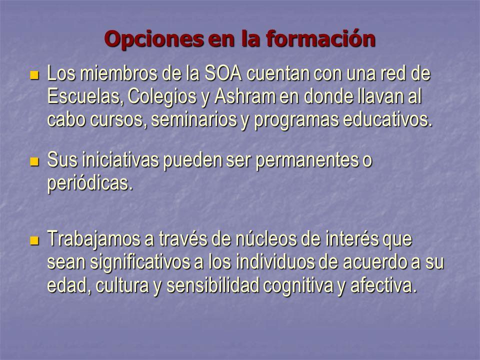 Opciones en la formación Los miembros de la SOA cuentan con una red de Escuelas, Colegios y Ashram en donde llavan al cabo cursos, seminarios y programas educativos.