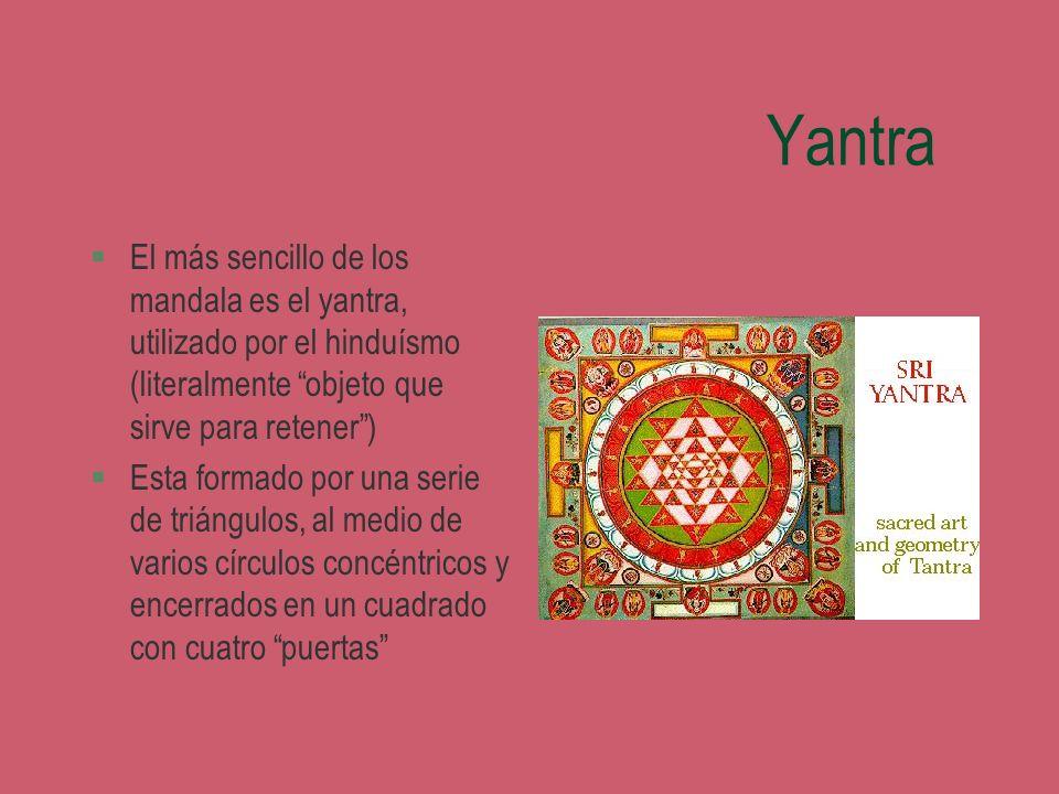Yantra §El más sencillo de los mandala es el yantra, utilizado por el hinduísmo (literalmente objeto que sirve para retener) §Esta formado por una ser